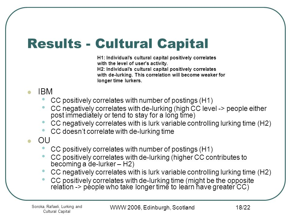 Soroka, Rafaeli, Lurking and Cultural Capital WWW 2006, Edinburgh, Scotland 18/22 Results - Cultural Capital IBM CC positively correlates with number of postings (H1) CC negatively correlates with de-lurking (high CC level -> people either post immediately or tend to stay for a long time) CC negatively correlates with is lurk variable controlling lurking time (H2) CC doesnt correlate with de-lurking time OU CC positively correlates with number of postings (H1) CC positively correlates with de-lurking (higher CC contributes to becoming a de-lurker – H2) CC negatively correlates with is lurk variable controlling lurking time (H2) CC positively correlates with de-lurking time (might be the opposite relation -> people who take longer time to learn have greater CC) H1: Individuals cultural capital positively correlates with the level of user s activity.