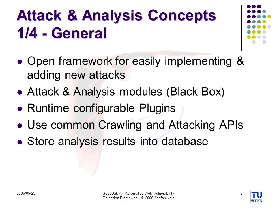 2006/05/25SecuBat: An Automated Web Vulnerability Detection Framework, © 2006 Stefan Kals 7 Attack & Analysis Concepts 1/4 - General Open framework for easily implementing & adding new attacks Attack & Analysis modules (Black Box) Runtime configurable Plugins Use common Crawling and Attacking APIs Store analysis results into database