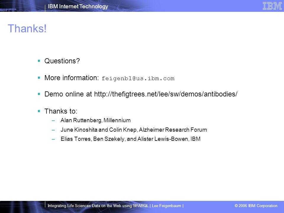 IBM Internet Technology Integrating Life Sciences Data on the Web using SPARQL | Lee Feigenbaum | © 2006 IBM Corporation Thanks.