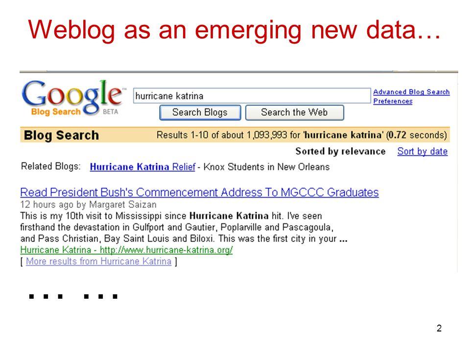 2 Weblog as an emerging new data… …