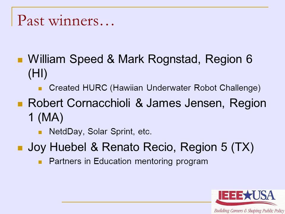 Past winners… William Speed & Mark Rognstad, Region 6 (HI) Created HURC (Hawiian Underwater Robot Challenge) Robert Cornacchioli & James Jensen, Regio