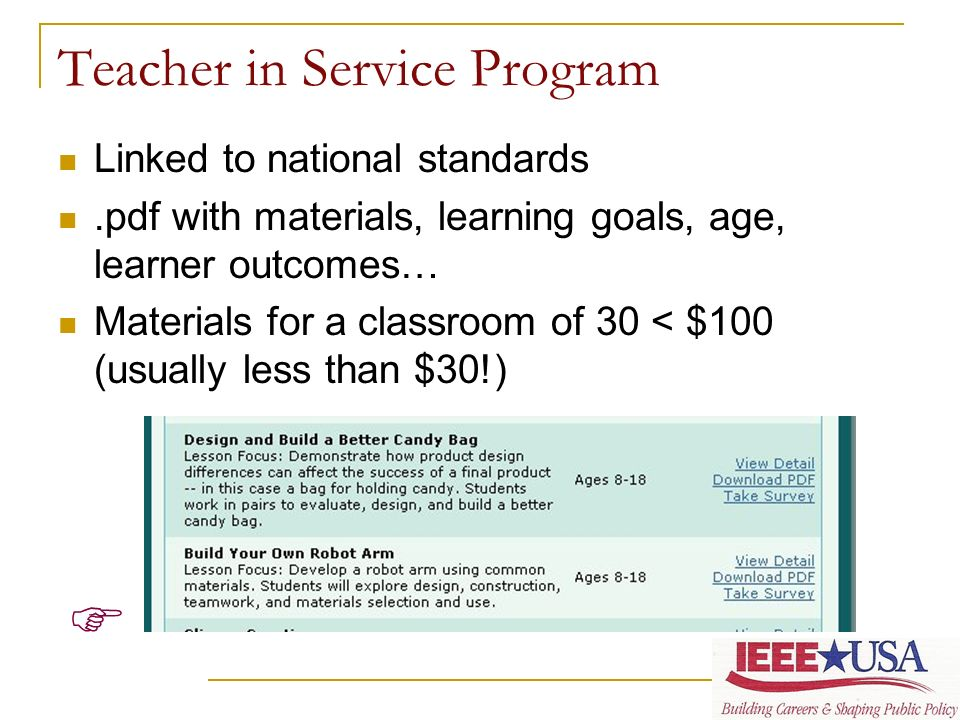 Teacher in Service Program Linked to national standards.pdf with materials, learning goals, age, learner outcomes… Materials for a classroom of 30 < $100 (usually less than $30!)