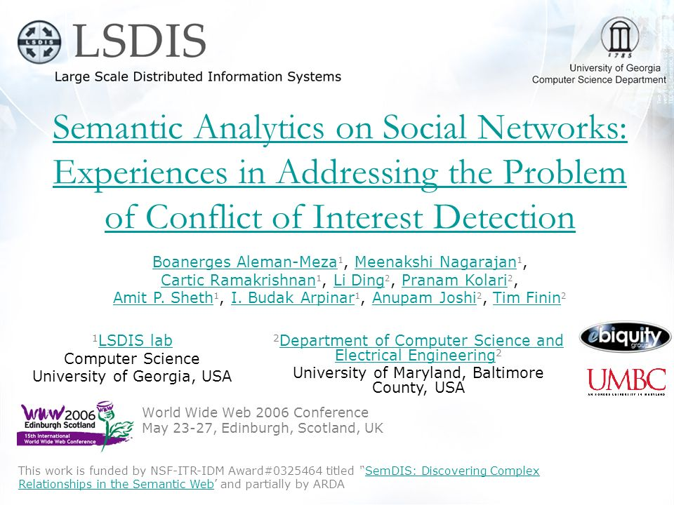 Semantic Analytics on Social Networks: Experiences in Addressing the Problem of Conflict of Interest Detection, Aleman-Meza et al., WWW2006 Outline Application scenario: Conflict of Interest Dataset: FOAF Social Networks + DBLP Collaborative Network Describe experiences on building this type of Semantic Web Application