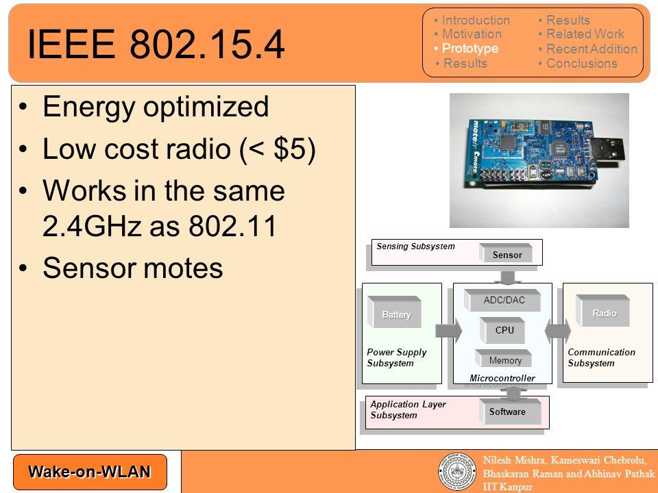 Wake-on-WLAN Nilesh Mishra, Kameswari Chebrolu, Bhaskaran Raman and Abhinav Pathak IIT Kanpur IEEE 802.15.4 Energy optimized Low cost radio (< $5) Wor
