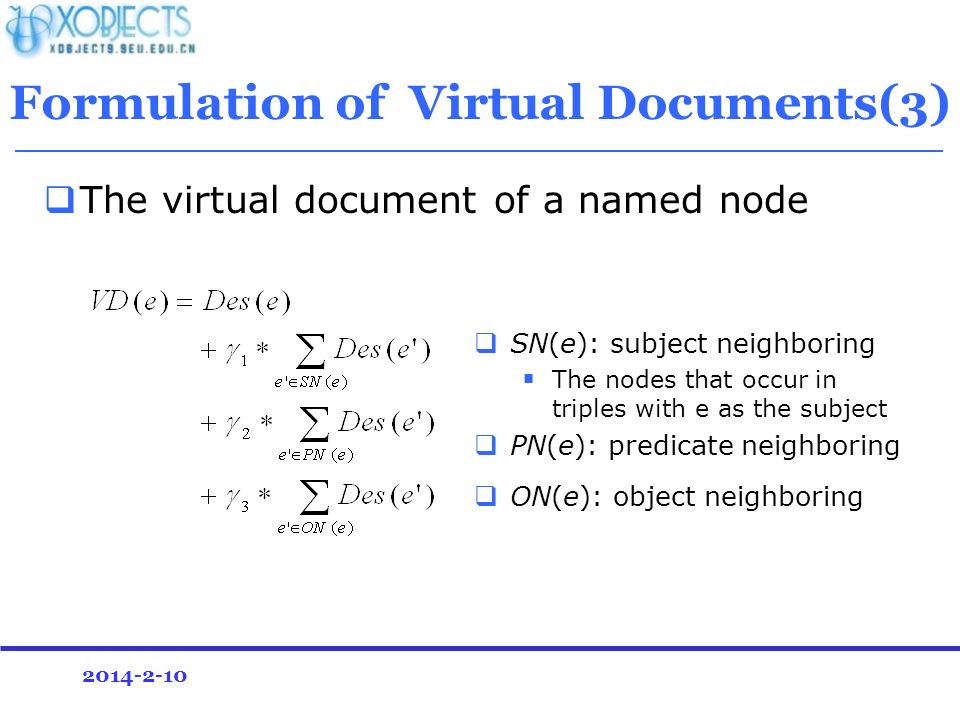 2014-2-10 Formulation of Virtual Documents(3) The virtual document of a named node SN(e): subject neighboring The nodes that occur in triples with e as the subject PN(e): predicate neighboring ON(e): object neighboring