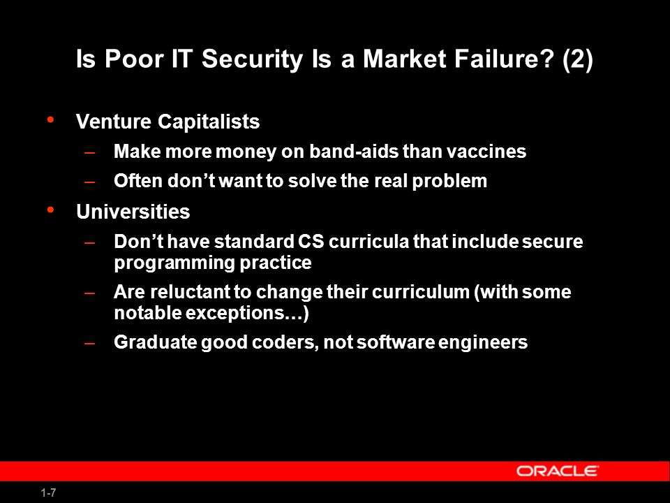 1-8 What Isnt a Market Failure… Hackers/ security research firms –Collude well –Find a need and fill it –(Sometimes) create businesses from bad behavior –Have excellent automated tools to increase hacking efficiency and time to exploit –(Sometimes) are for hire by bad guys