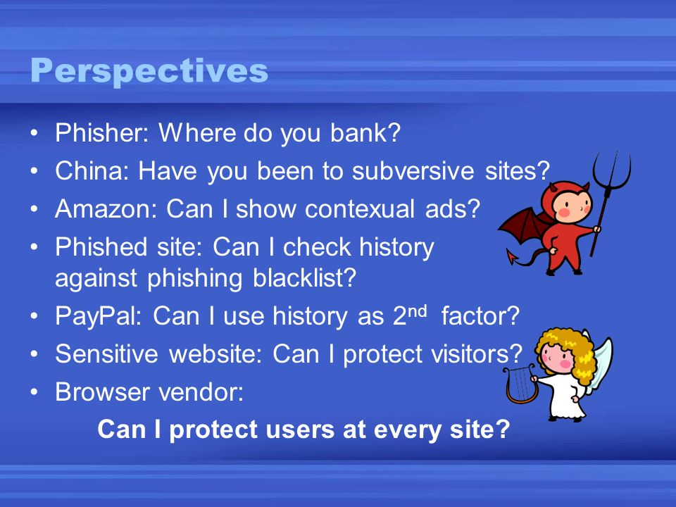 Perspectives Phisher: Where do you bank.China: Have you been to subversive sites.