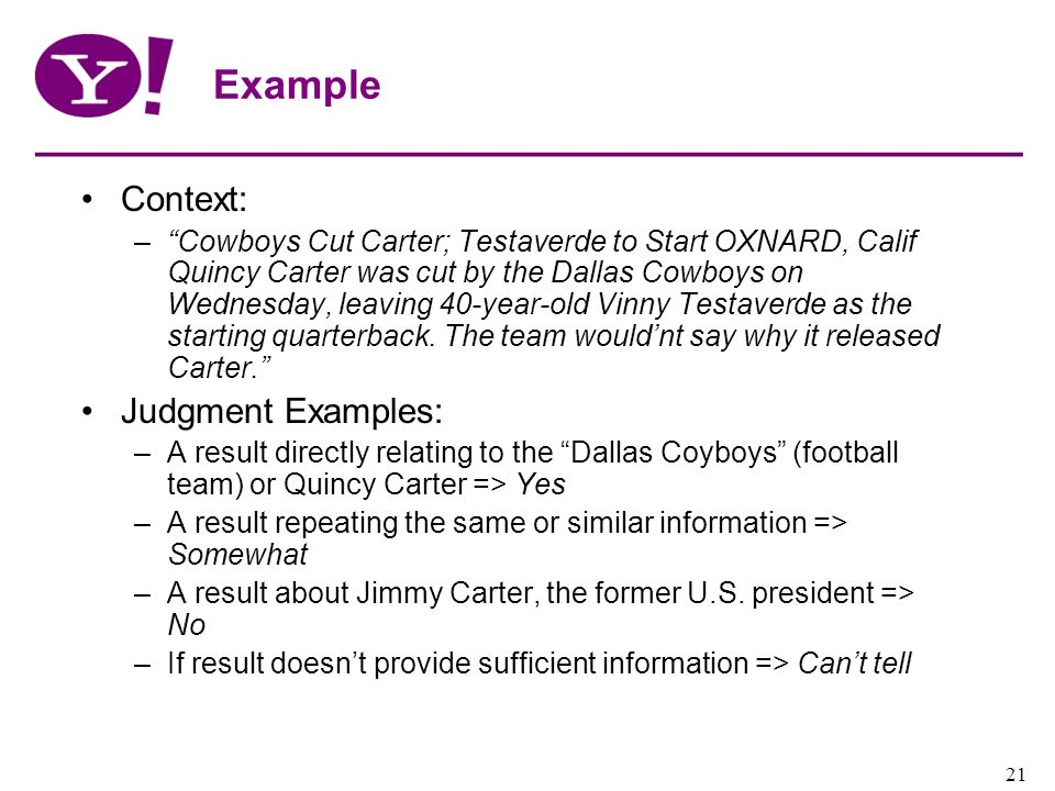 Yahoo! Confidential 21 Example Context: –Cowboys Cut Carter; Testaverde to Start OXNARD, Calif Quincy Carter was cut by the Dallas Cowboys on Wednesda