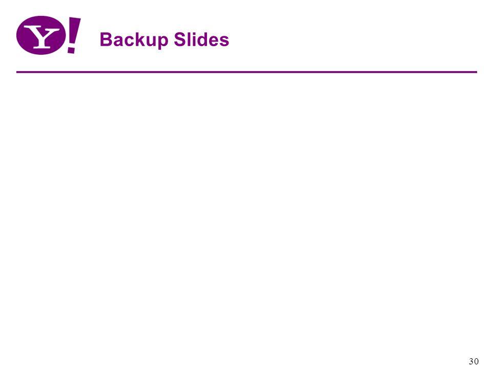 Yahoo! Confidential 30 Backup Slides