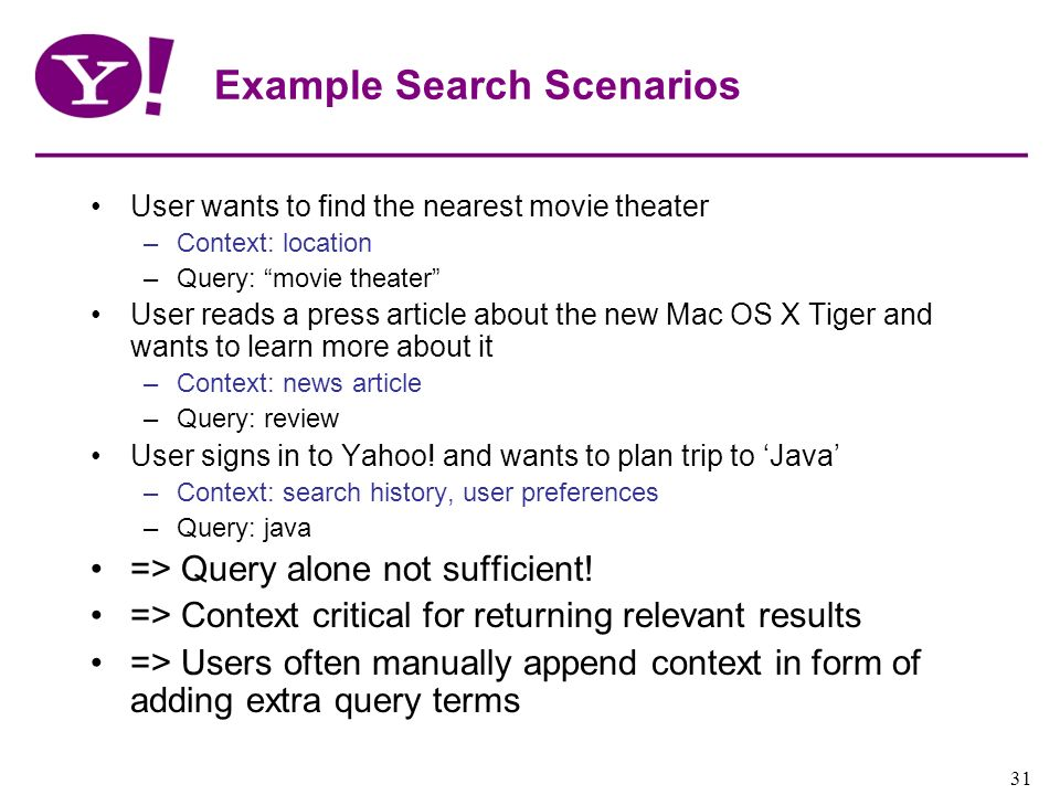 Yahoo! Confidential 31 Example Search Scenarios User wants to find the nearest movie theater –Context: location –Query: movie theater User reads a pre