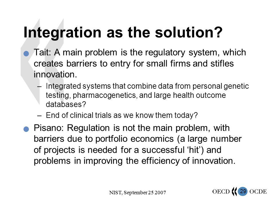 29 NIST, September 25 2007 Integration as the solution.