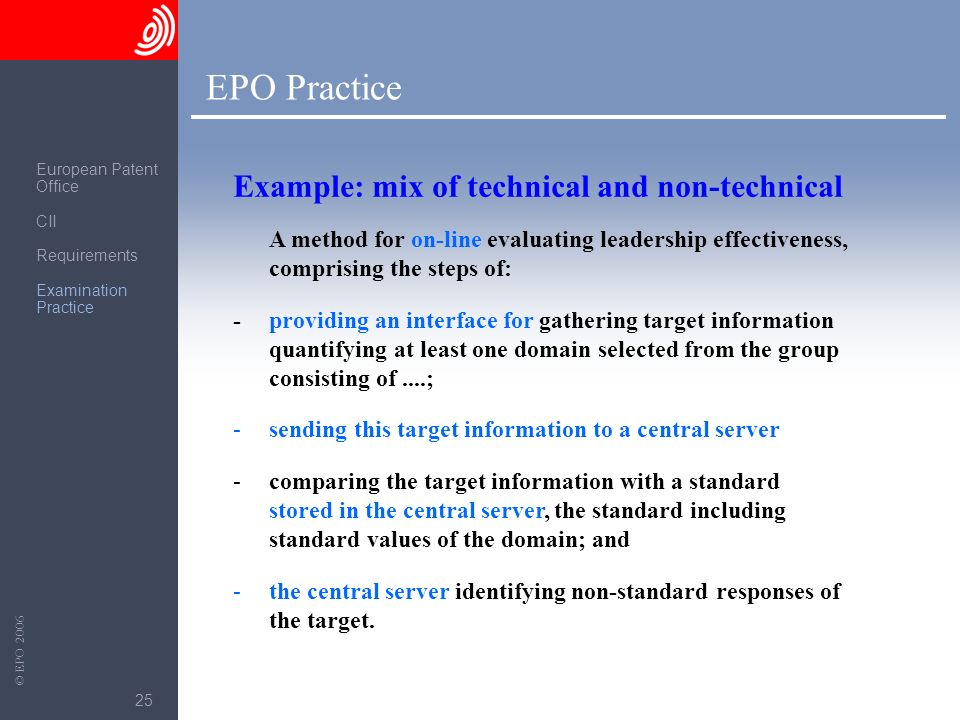 The European Patent Office © EPO 2006 25 EPO Practice A method for on-line evaluating leadership effectiveness, comprising the steps of: -providing an
