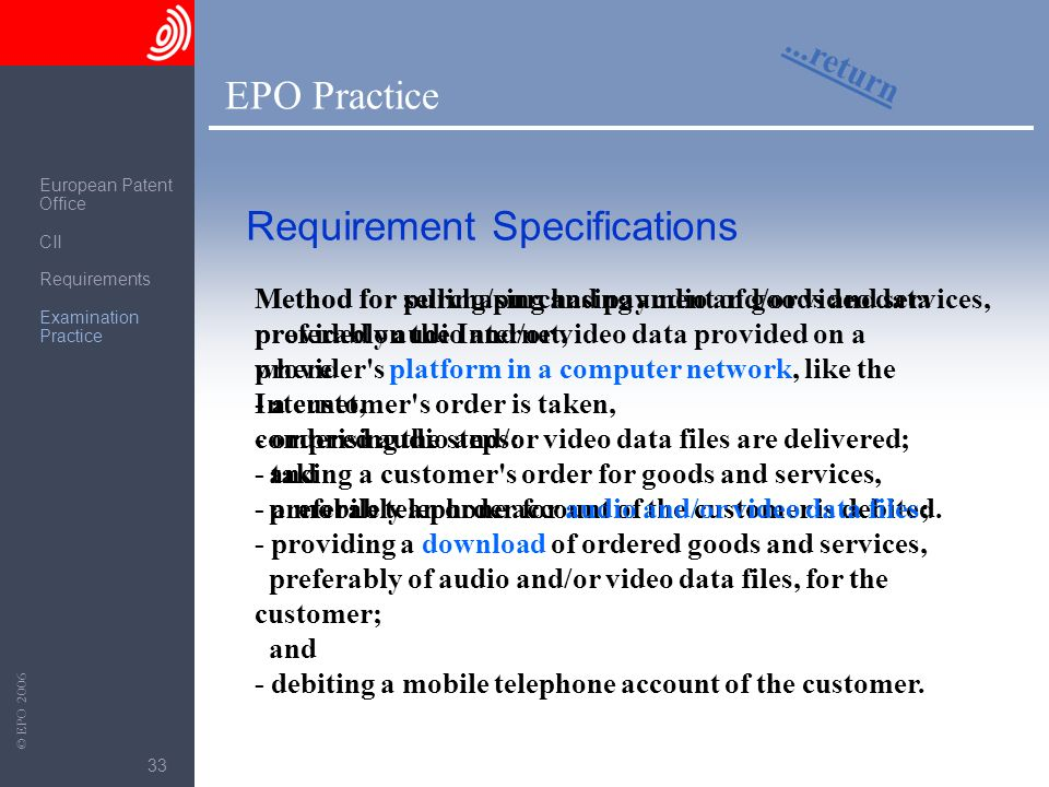 The European Patent Office © EPO 2006 33 EPO Practice...return Requirement Specifications Method for selling/purchasing audio and/or video data provid