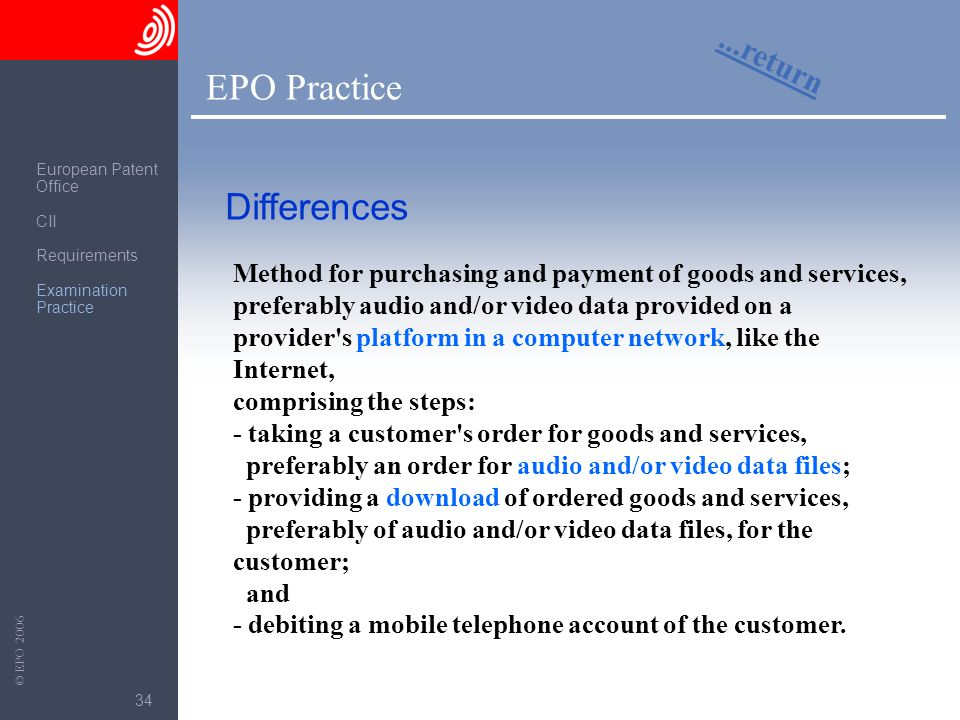The European Patent Office © EPO 2006 34 EPO Practice...return Differences Method for purchasing and payment of goods and services, preferably audio a