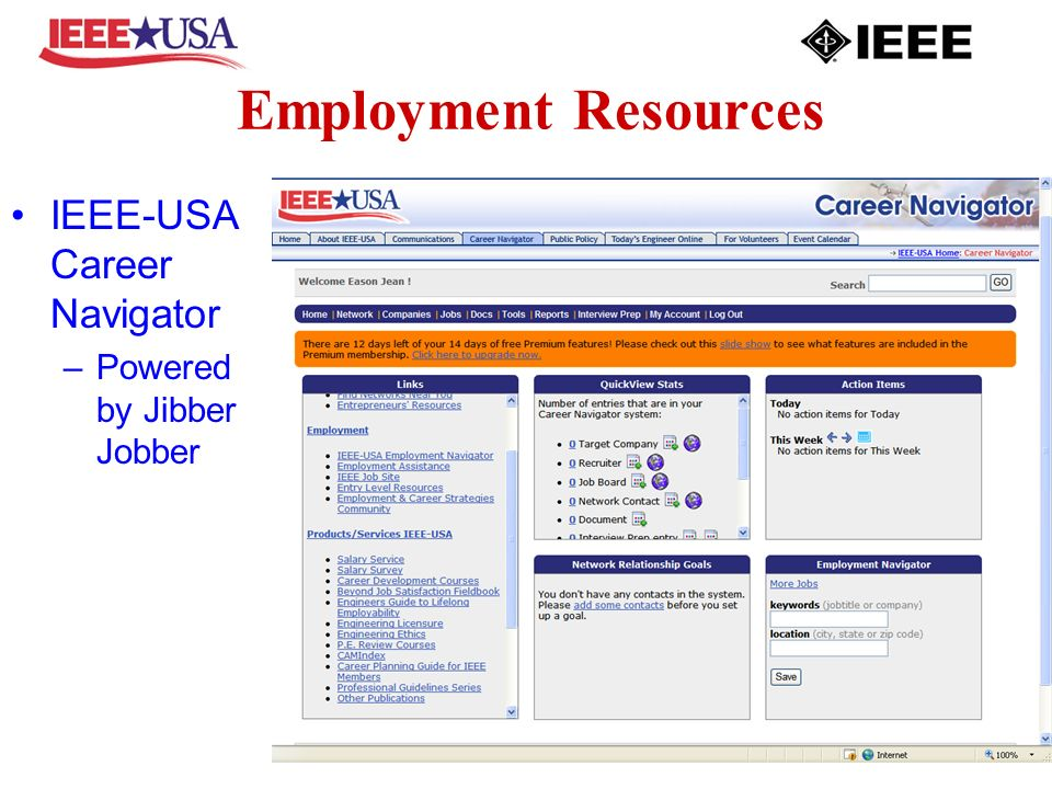 Employment Resources IEEE-USA Career Navigator –Powered by Jibber Jobber