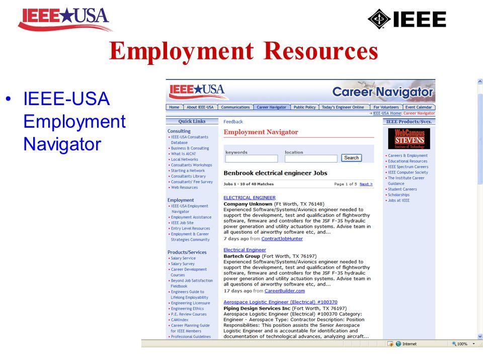 Employment Resources IEEE-USA Employment Navigator