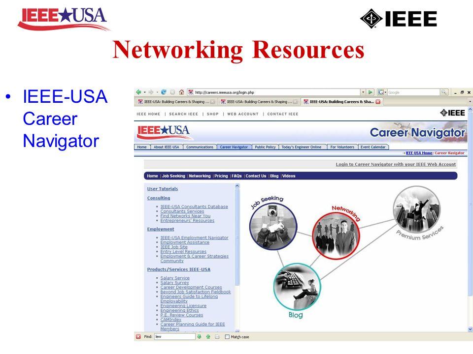 Networking Resources IEEE-USA Career Navigator