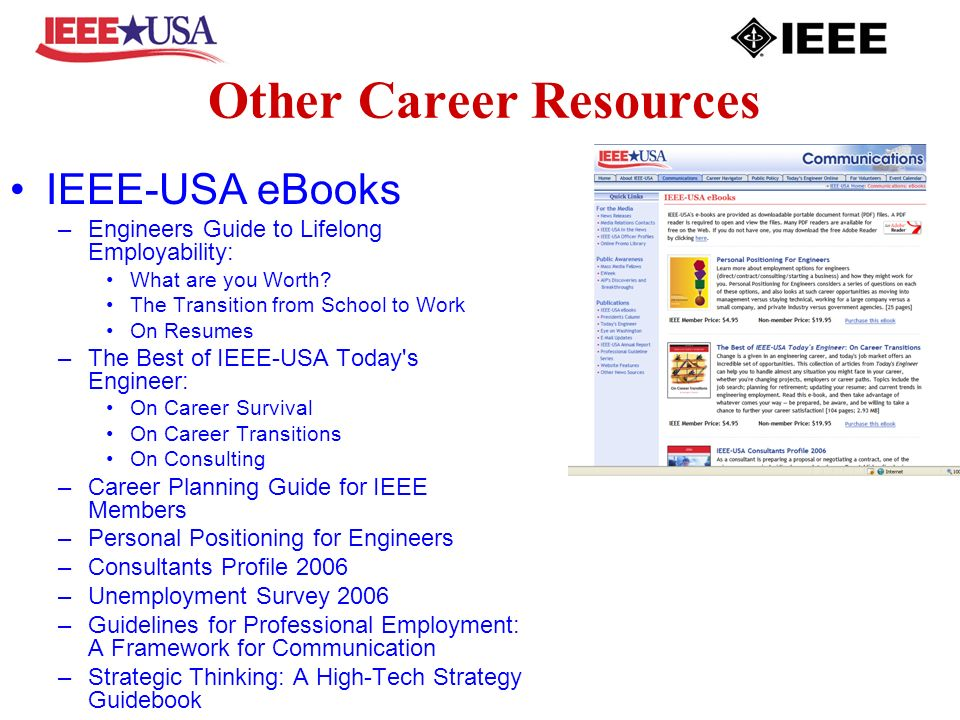 Other Career Resources IEEE-USA eBooks –Engineers Guide to Lifelong Employability: What are you Worth? The Transition from School to Work On Resumes –
