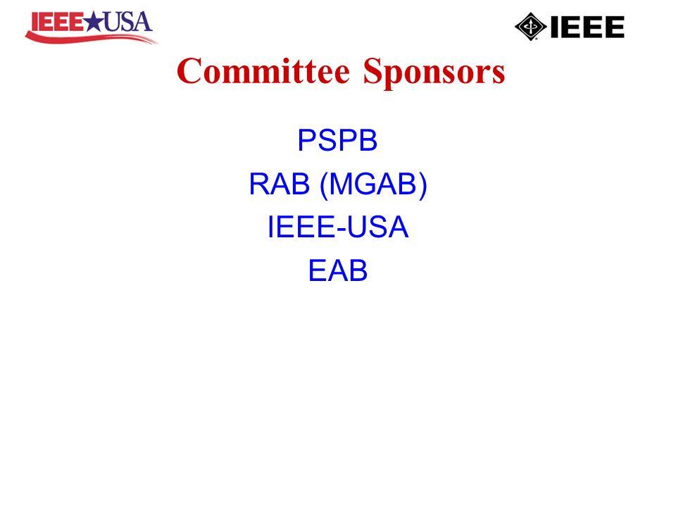 Committee Sponsors PSPB RAB (MGAB) IEEE-USA EAB