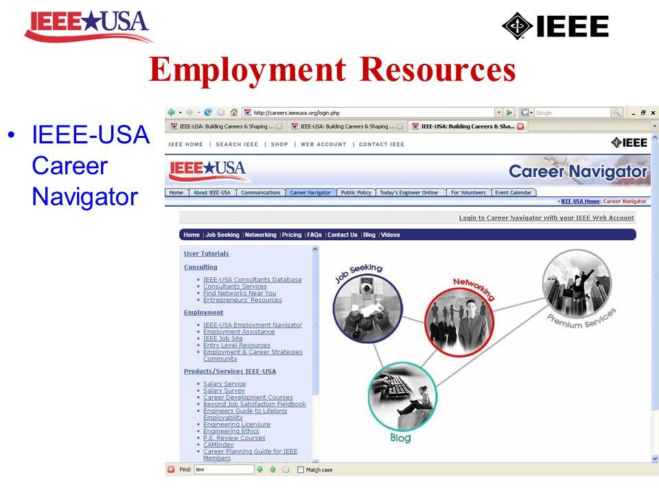 Employment Resources IEEE-USA Career Navigator