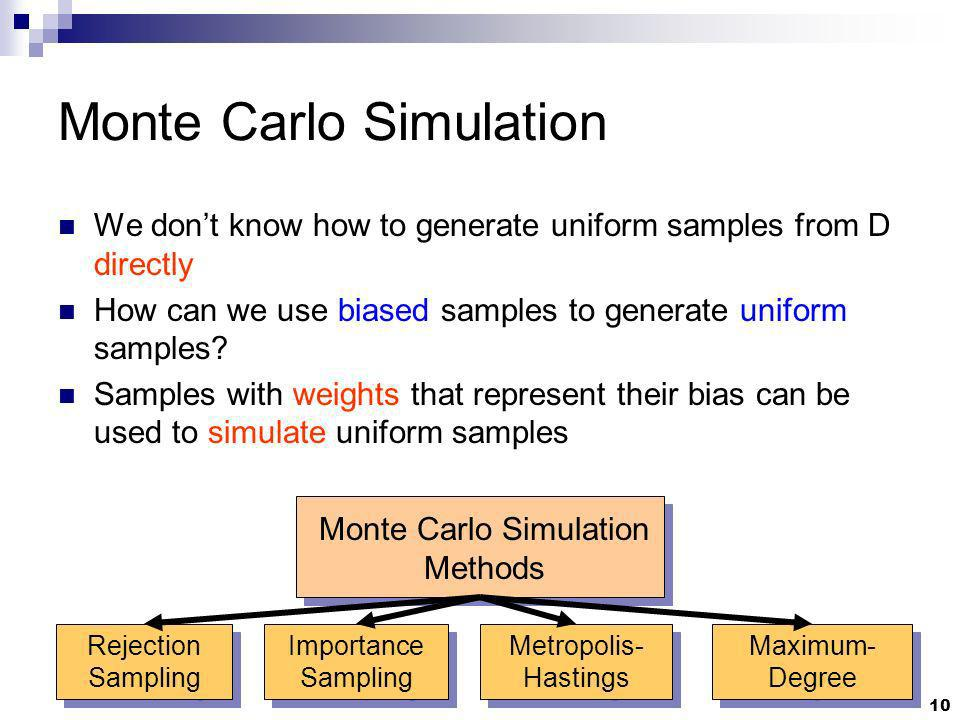 10 Monte Carlo Simulation We dont know how to generate uniform samples from D directly How can we use biased samples to generate uniform samples? Samp