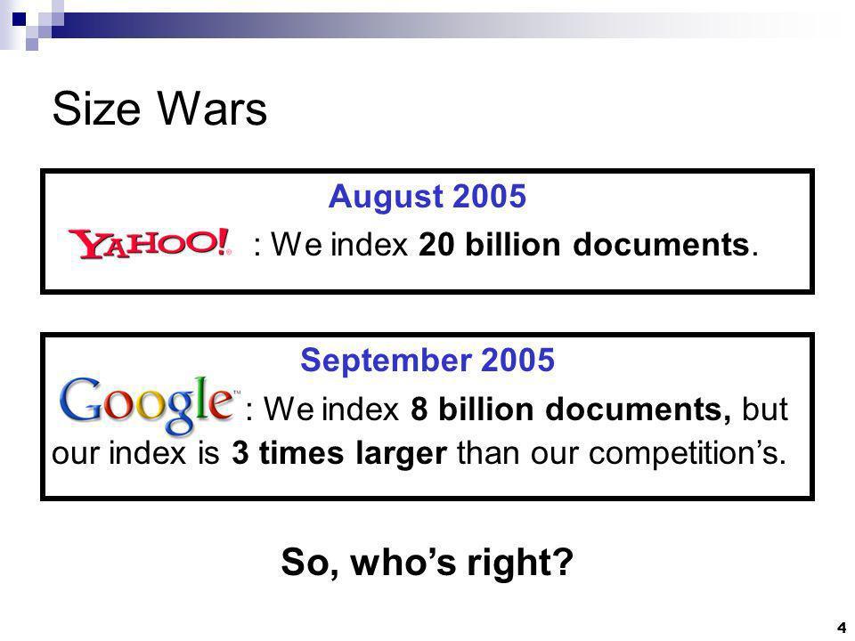 4 Size Wars August 2005 : We index 20 billion documents.