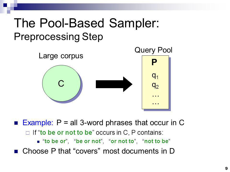 9 The Pool-Based Sampler: Preprocessing Step C Large corpus P q1q1 … … Query Pool Example: P = all 3-word phrases that occur in C If to be or not to b