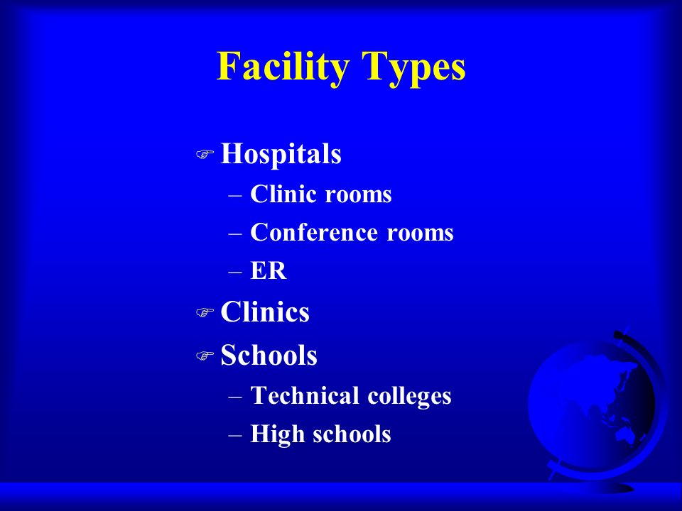 F Hospitals –Clinic rooms –Conference rooms –ER F Clinics F Schools –Technical colleges –High schools Facility Types