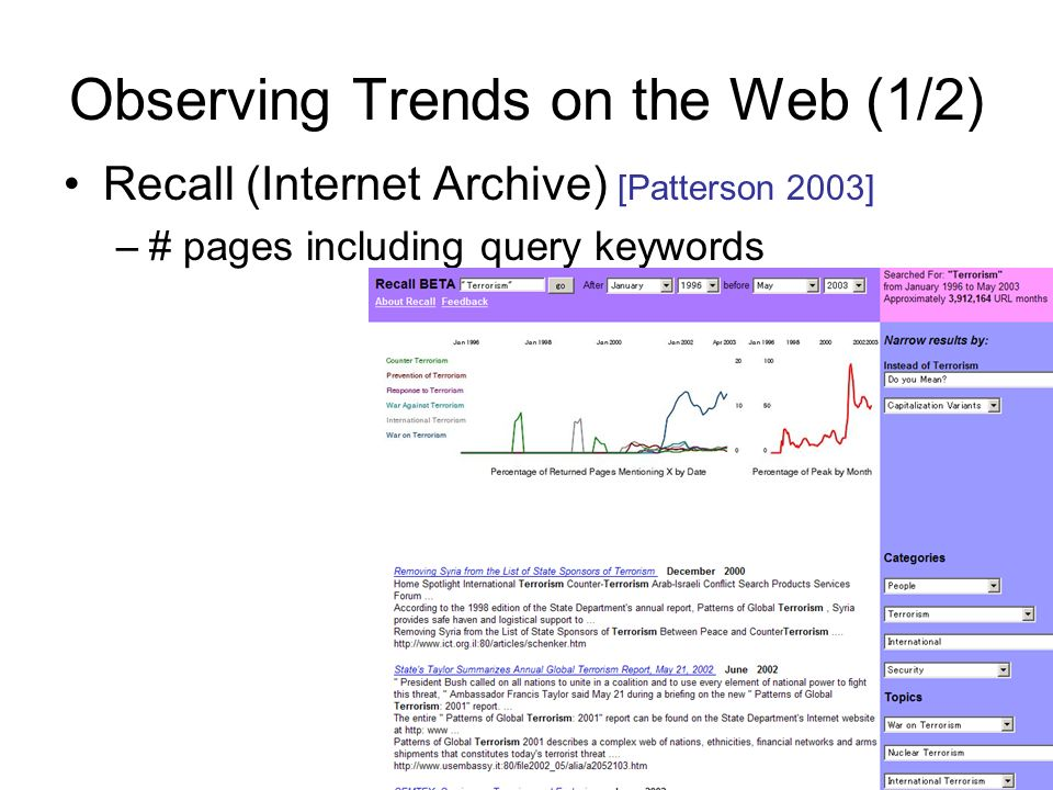Observing Trends on the Web (1/2) Recall (Internet Archive) [Patterson 2003] –# pages including query keywords