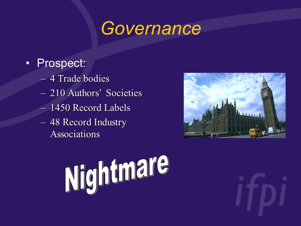 Governance Prospect: –4 Trade bodies –210 Authors Societies –1450 Record Labels –48 Record Industry Associations