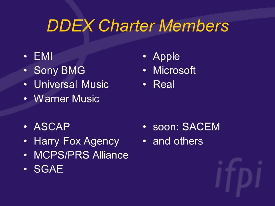 DDEX Charter Members EMI Sony BMG Universal Music Warner Music ASCAP Harry Fox Agency MCPS/PRS Alliance SGAE Apple Microsoft Real soon: SACEM and others