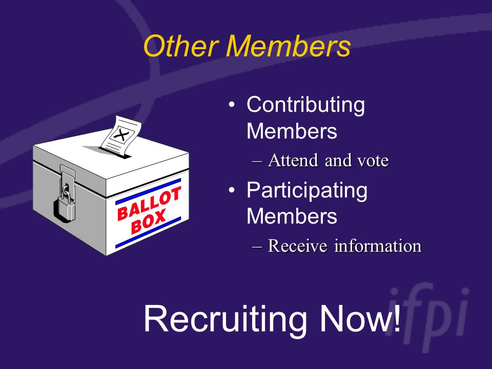 Other Members Contributing Members –Attend and vote Participating Members –Receive information Recruiting Now!