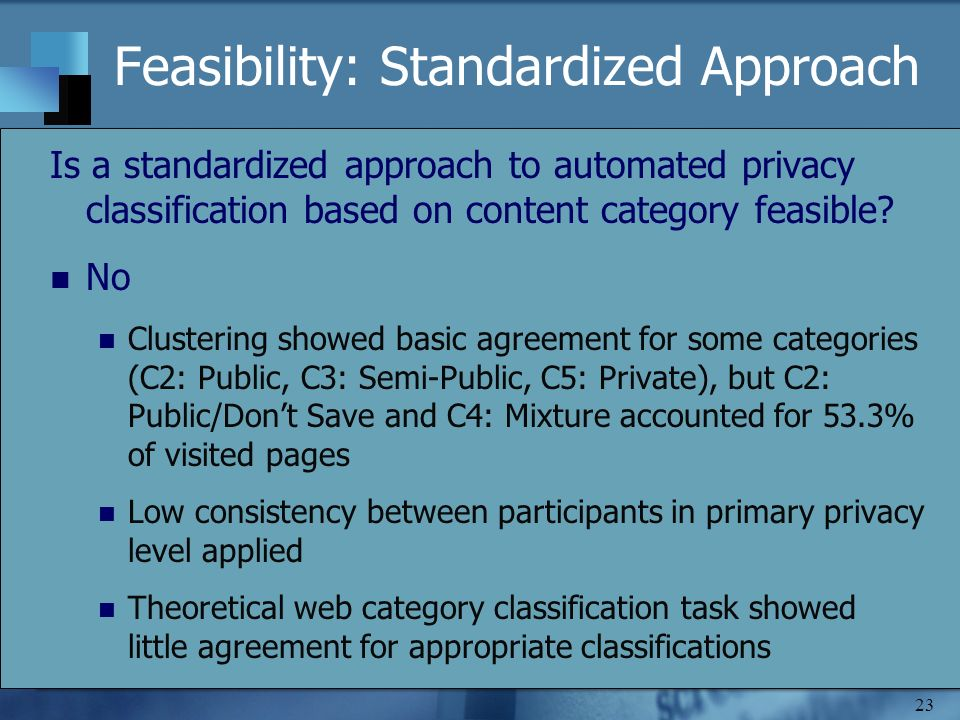 23 Feasibility: Standardized Approach Is a standardized approach to automated privacy classification based on content category feasible? No Clustering