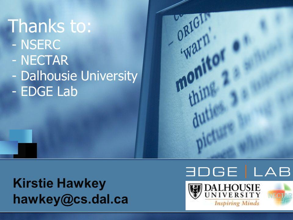 Thanks to: - NSERC - NECTAR - Dalhousie University - EDGE Lab Kirstie Hawkey hawkey@cs.dal.ca