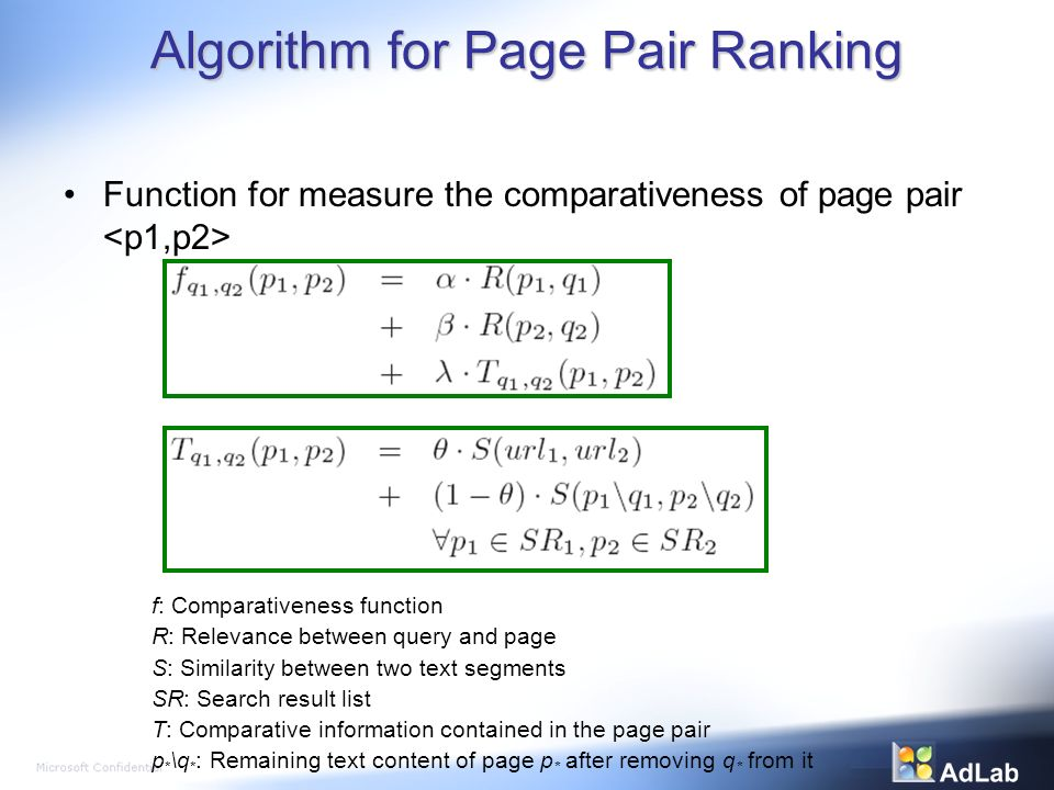 Algorithm for Page Pair Ranking Function for measure the comparativeness of page pair f: Comparativeness function R: Relevance between query and page S: Similarity between two text segments SR: Search result list T: Comparative information contained in the page pair p * \q * : Remaining text content of page p * after removing q * from it