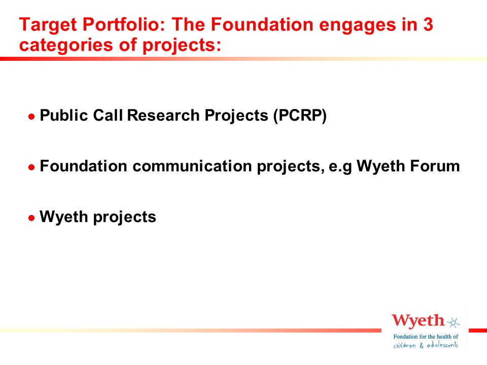 Public Call Research Projects and the Wyeth Foundation Forum to be the flagships of the Foundation Target project portfolio to reflect a combination of Public Call Research Projects, Communication and Wyeth projects of public interest Target Portfolio: Project mix