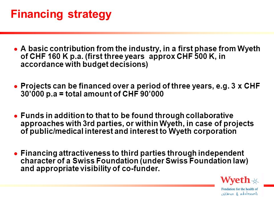 Financing strategy A basic contribution from the industry, in a first phase from Wyeth of CHF 160 K p.a.