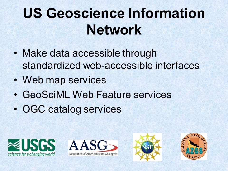 US Geoscience Information Network Make data accessible through standardized web-accessible interfaces Web map services GeoSciML Web Feature services O