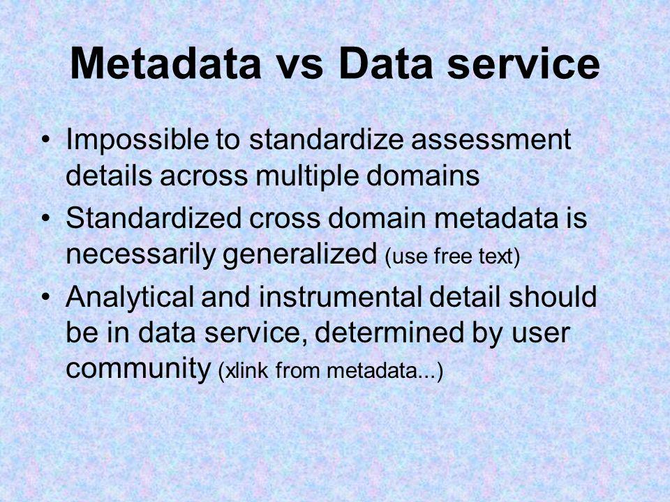 Metadata vs Data service Impossible to standardize assessment details across multiple domains Standardized cross domain metadata is necessarily genera