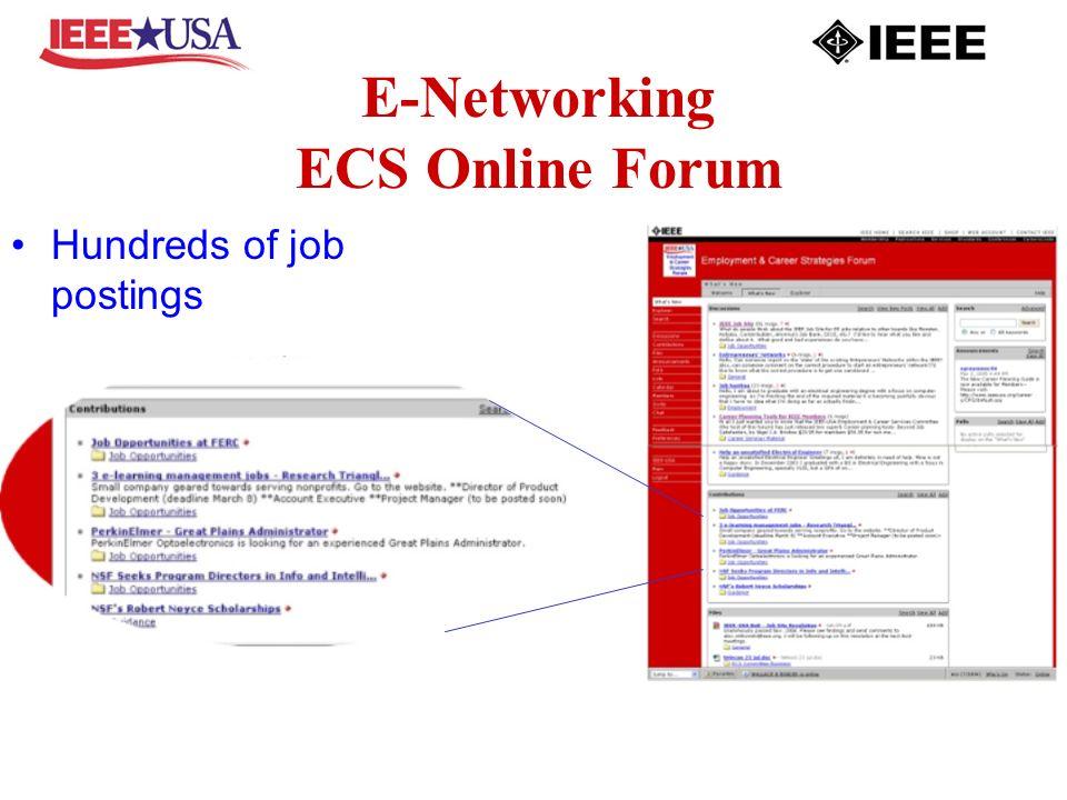 E-Networking ECS Online Forum Hundreds of job postings