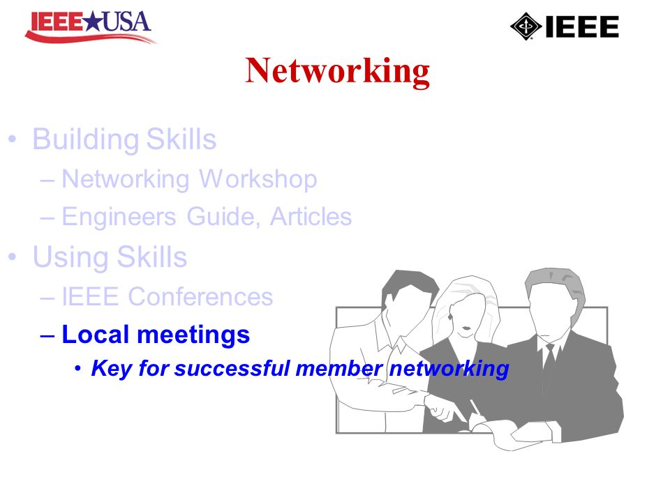 Networking Building Skills –Networking Workshop –Engineers Guide, Articles Using Skills –IEEE Conferences –Local meetings Key for successful member networking