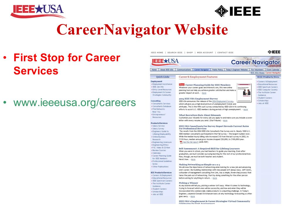 CareerNavigator Website First Stop for Career Services www.ieeeusa.org/careers
