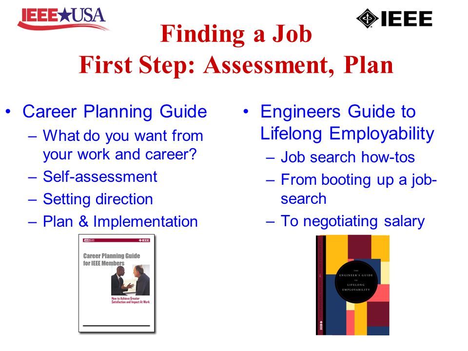 Finding a Job First Step: Assessment, Plan Career Planning Guide –What do you want from your work and career.