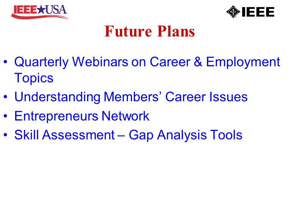 Future Plans Quarterly Webinars on Career & Employment Topics Understanding Members Career Issues Entrepreneurs Network Skill Assessment – Gap Analysis Tools