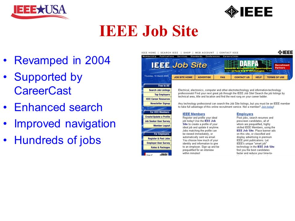 IEEE Job Site Revamped in 2004 Supported by CareerCast Enhanced search Improved navigation Hundreds of jobs