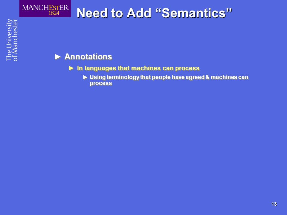 13 Need to Add Semantics Annotations In languages that machines can process Using terminology that people have agreed & machines can process Annotations In languages that machines can process Using terminology that people have agreed & machines can process