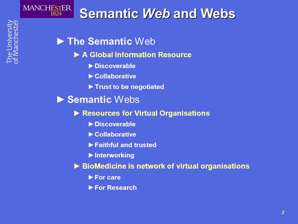 3 Semantic Web Technology New ways to deliver information services Service oriented computing Easy interworking of heterogeneous systems SOAP Semantically rich computing Workflows Macros on steroids Discovering appropriate services.