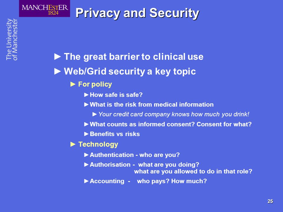 25 Privacy and Security The great barrier to clinical use Web/Grid security a key topic For policy How safe is safe? What is the risk from medical inf