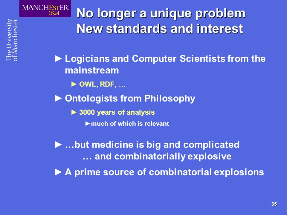 35 No longer a unique problem New standards and interest Logicians and Computer Scientists from the mainstream OWL, RDF, … Ontologists from Philosophy