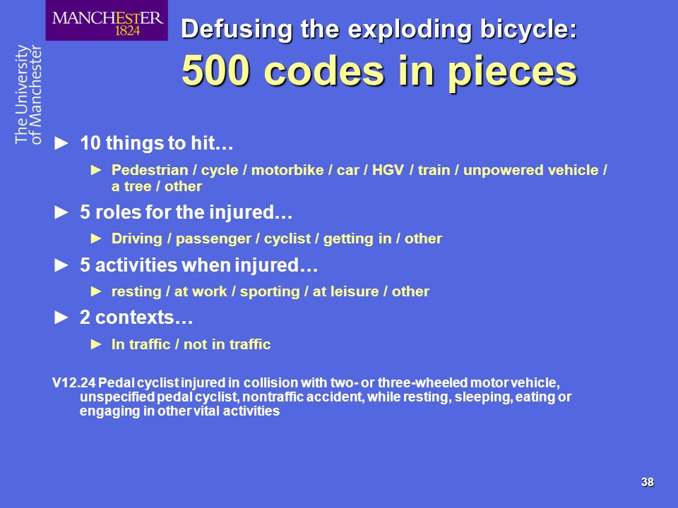 38 Defusing the exploding bicycle: 500 codes in pieces 10 things to hit… Pedestrian / cycle / motorbike / car / HGV / train / unpowered vehicle / a tr